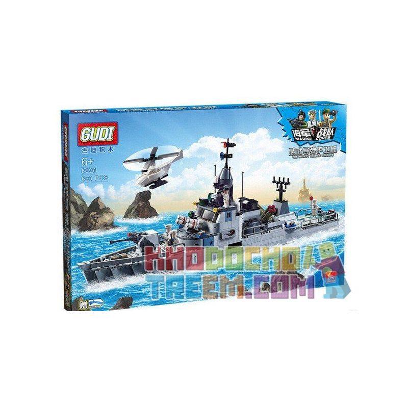 GUDI 8026 Xếp hình kiểu Lego MILITARY ARMY The Mighty Missile Frigate Navy Team Weiwu Missile Frigate Tàu Hộ Vệ Tên Lửa Tàng Hình 802 khối