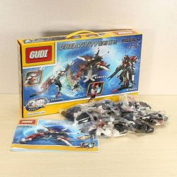 Gudi 8119 Xếp hình kiểu LEGO Creator 3 in 1 Transformers 3 In 1 Rô Bốt Biến Hình Thành Phi Thuyền Thú 438 khối