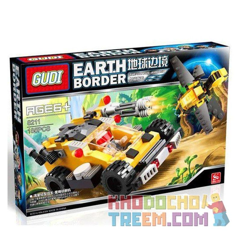 GUDI 8211 Xếp hình kiểu Lego Earth Border Meteor Light Tank, Bee Reconnaissance Aircraft ô Tô Chiến đấu Cùng Robot Ong 185 khối