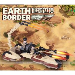 GUDI 8213 Xếp hình kiểu Lego EARTH BORDER Earth Border Xe Pháo Bọ Cạp 4 Bánh 224 khối