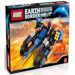 GUDI 8214 Xếp hình kiểu Lego Earth Border Top Of The Red Flame Lava Electromagnetic Cannon Xe Pháo 4 Bánh 223 khối