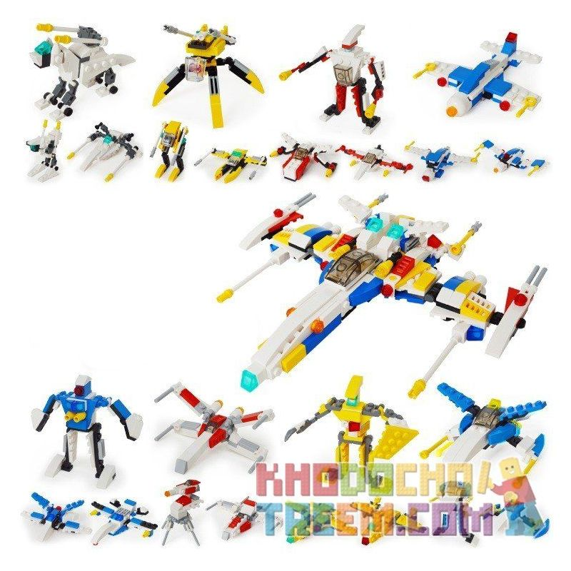 Gudi 8604-8 Xếp hình kiểu LEGO Creator 3 in 1 Space Fighter 8 In 1 Phi Thuyền Từ 8 Robot Biến Hình 409 khối