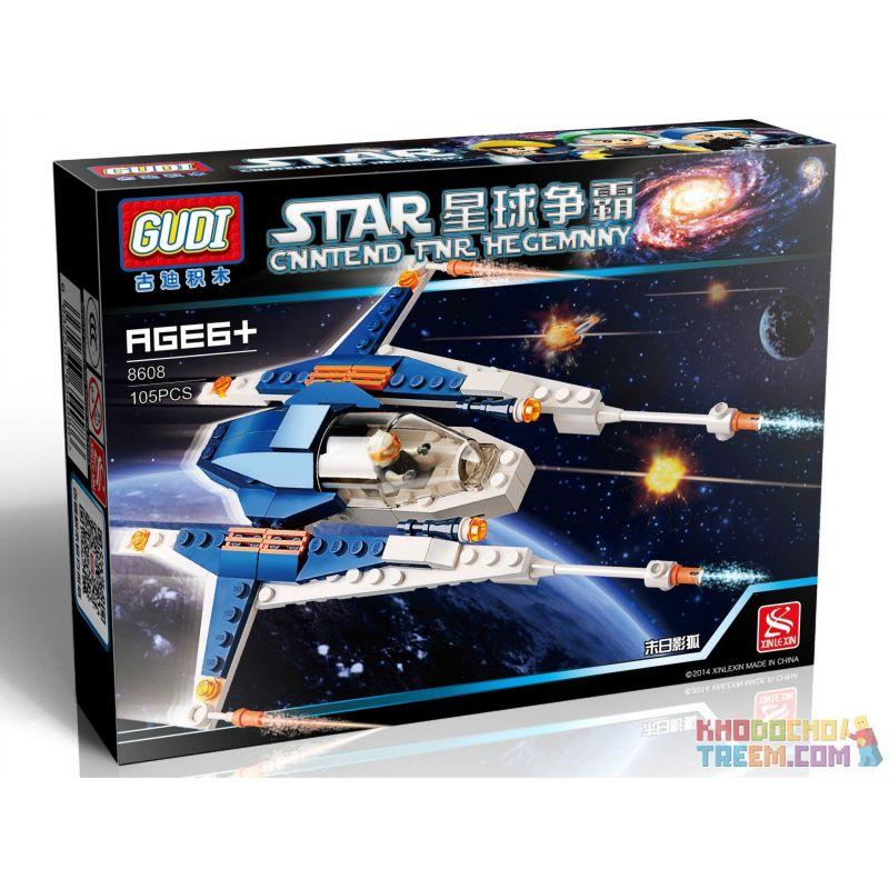 Gudi 8608 Xếp hình kiểu LEGO Star wars Doom Shadow Fox Phi Thuyền Chiến đấu Cá Nhân Xanh Biển 105 khối