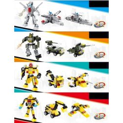 GUDI 8707 Xếp hình kiểu Lego POWER RANGERS SUPER SENTAI Super-war 8 Three-generation đại Chiến Robot Biến Hình 8 Trong 1