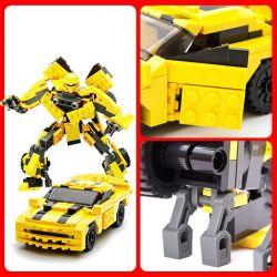 GUDI 8711 Xếp hình kiểu Lego TRANSFORMERS Transform Series Rô Bốt Biến Hình Xe ô Tô Bumblebee Chevrolet Camaro Vàng lắp được 2 mẫu 238 khối