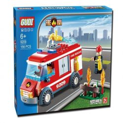 GUDI 9209 Xếp hình kiểu Lego CITY Fireman Light A Fire Truck Fire Team Light Fire Truck Xe Cứu Hỏa Chữa Cháy Bụi Hoa 156 khối