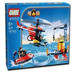 Gudi 9211 Xếp hình kiểu LEGO City Fire Helicopter Trực Thăng Ca Nô Cứu Hỏa Giàn Khoan Dầu 197 khối
