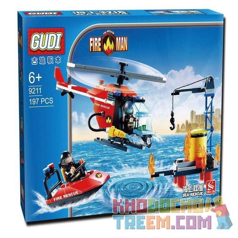 GUDI 9211 Xếp hình kiểu Lego CITY Fireman Sea Rescue Fire Brigade Trực Thăng Ca Nô Cứu Hỏa Giàn Khoan Dầu 197 khối
