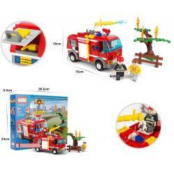 Gudi 9212 Xếp hình kiểu LEGO City Fire Truck Xe Cứu Hỏa Phun Nước Chữa Cháy Cây 229 khối