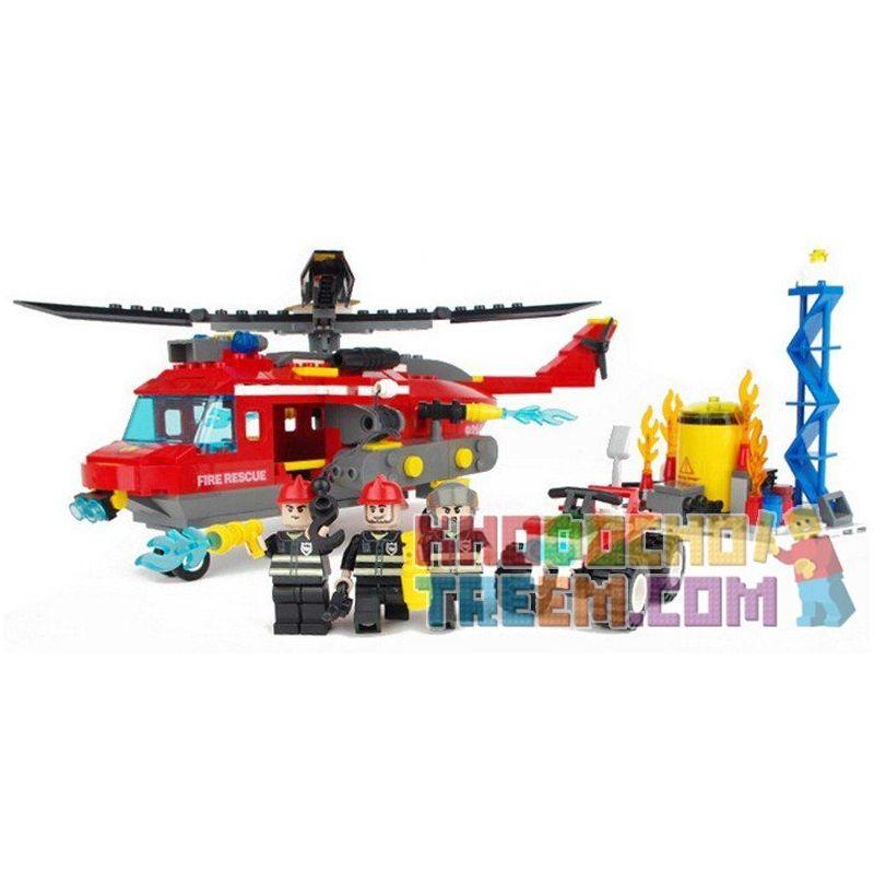 GUDI 9214 Xếp hình kiểu Lego CITY Fireman Fire Heavy Helicoptor Fire Team Heavy Fire Helicopter Trực Thăng Cứu Hỏa Giếng Dầu 374 khối