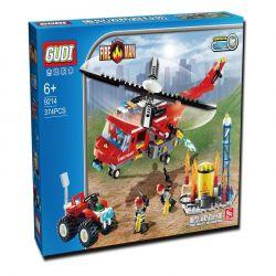 Gudi 9214 Xếp hình kiểu LEGO City Fire Helicopter Trực Thăng Cứu Hỏa Giếng Dầu 374 khối