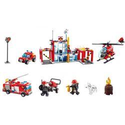 GUDI 9217 Xếp hình kiểu Lego CITY Fire Station Trụ Sở Cứu Hỏa Với Trực Thăng Và ô Tô Cứu Hỏa 874 khối