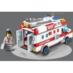 Enlighten 1118 Qman 1118 KEEPPLEY 1118 Xếp hình kiểu Lego CITY Emergency Treatment Xe Cấp Cứu Người Tai Nạn Mô Tô 328 khối