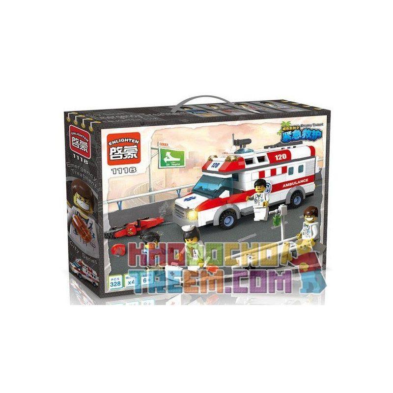 Enlighten 1118 (NOT Lego City 4431 Ambulance ) Xếp hình Xe Cấp Cứu Người Tai Nạn Mô Tô 328 khối