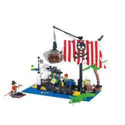 Enlighten 302 Qman 302 Xếp hình kiểu Lego PIRATES OF THE CARIBBEAN Shipwreck Island Pirate Shipping Xếp Hình đảo Chìm Tàu 238 khối