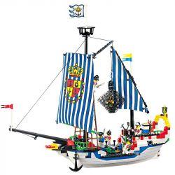 Enlighten 305 Qman 305 Xếp hình kiểu Lego PIRATES OF THE CARIBBEAN Armada Flagship Pirate Santa Cruise Royal Battle Tàu Chiến Hoàng Gia Bắt Cướp Biển gồm 2 hộp nhỏ 284 khối