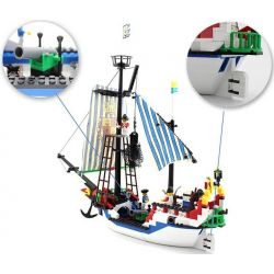 NOT LEGO Pirates of the Caribbean 6280 6291 Armada Flagship, Enlighten Qman 305 Xếp hình Tàu Chiến Hoàng Gia Bắt Cướp Biển gồm 2 hộp nhỏ 284 khối