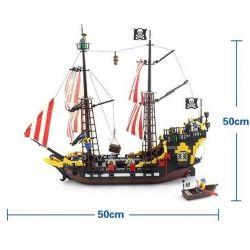 NOT Lego PIRATES OF THE CARIBBEAN 10040 6285 Black Seas Barracuda Hailoros , Enlighten 308 Qman 308 Xếp hình Tàu Cướp Biển gồm 2 hộp nhỏ 906 khối