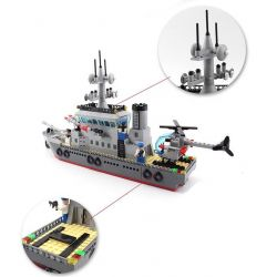 Enlighten 820 Qman 820 KEEPPLEY 820 Xếp hình kiểu Lego MILITARY ARMY CombatZones Frigate Trận Đánh Chiếm Hòn Đảo Ở Đại Dương Của Tàu Tên Lửa Và Trực Thăng 614 khối