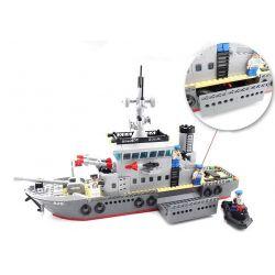 Enlighten 820 Qman 820 Xếp hình kiểu Lego MILITARY ARMY CombatZones Frigate Trận Đánh Chiếm Hòn Đảo Ở Đại Dương Của Tàu Tên Lửa Và Trực Thăng 614 khối