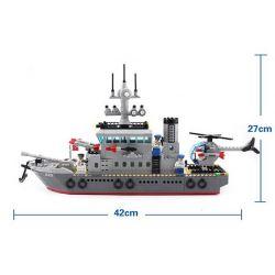 Enlighten 820 Qman 820 KEEPPLEY 820 Xếp hình kiểu Lego MILITARY ARMY CombatZones:Frigate Trận Đánh Chiếm Hòn Đảo Ở Đại Dương Của Tàu Tên Lửa Và Trực Thăng 614 khối