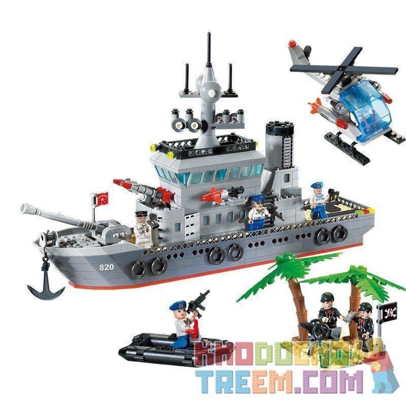 Enlighten 820 (NOT Lego Military Army Frigate ) Xếp hình Trận Đánh Chiếm Hòn Đảo Ở Đại Dương Của Tàu Tên Lửa Và Trực Thăng 614 khối