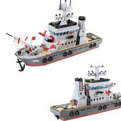 Enlighten Qman 820 Xếp hình kiểu LEGO Military Army CombatZones:Frigate Trận Đánh Chiếm Hòn Đảo Ở Đại Dương Của Tàu Tên Lửa Và Trực Thăng 614 khối