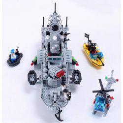 Enlighten Qman 821 Xếp hình kiểu LEGO Military Army CombatZones:Missile Cruiser Tàu Tên Lửa Tuần Dương Phối Hợp Trực Thăng Chống Ngầm 843 khối