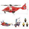 Enlighten 905 (NOT Lego City 60010 Fire Helicopter ) Xếp hình Trực Thăng Cùng Thuyền Cứu Hỏa Giàn Khoan Dầu 404 khối