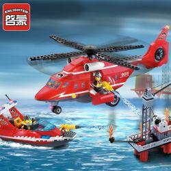 Enlighten 905 Qman 905 Xếp hình kiểu Lego CITY Fire Rescue Sea Rescue Teams Fire Sea And Empty Rescue Team Trực Thăng Cùng Thuyền Cứu Hỏa Giàn Khoan Dầu 402 khối