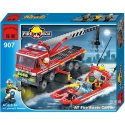 Enlighten 907 Qman 907 KEEPPLEY 907 Xếp hình kiểu Lego CITY Fire Rescue:AT Fire Boats Carrier Xe Tải Cứu Hỏa, Xuồng Cao Tốc Cứu Hỏa 417 khối