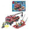Enlighten 907 (NOT Lego City 7213 Off-Road Fire Truck & Fireboat Set ) Xếp hình Xe Tải Cứu Hỏa, Xuồng Cao Tốc Cứu Hỏa 420 khối