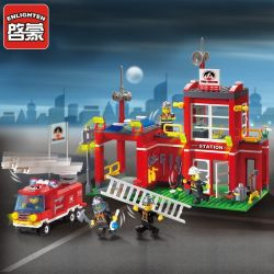Enlighten 910 Qman 910 KEEPPLEY 910 Xếp hình kiểu Lego CITY Fire Rescue Fire Control Branch Bureau Fire Fighting Fire Branch Trụ Sở Cứu Hỏa Nhỏ 466 khối
