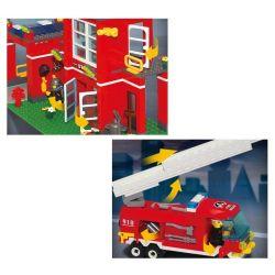 Enlighten 910 Qman 910 Xếp hình kiểu Lego CITY Fire Rescue Fire Control Branch Bureau Fire Branch Trụ Sở Cứu Hỏa Nhỏ 466 khối