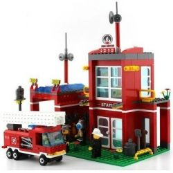 Enlighten Qman 910 Xếp hình kiểu LEGO City Fire Rescue:Fire Control Branch Bureau Trụ Sở Cứu Hỏa Nhỏ 466 khối