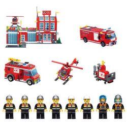 Enlighten 911 Qman 911 KEEPPLEY 911 Xếp hình kiểu Lego CITY Fire Rescue Fire Control Regional Bureau Fire Fighting Fire Department Trụ Sở Cứu Hỏa Với Trực Thăng Và Xe Thang, Xe Phun Nước Cứu Hỏa 970 k