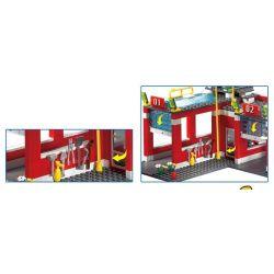 Enlighten 911 Qman 911 KEEPPLEY 911 Xếp hình kiểu Lego CITY Fire Rescue:Fire Control Regional Bureau Trụ Sở Cứu Hỏa Với Trực Thăng Và Xe Thang, Xe Phun Nước Cứu Hỏa 970 khối