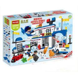 NOT Lego Duplo DUPLO 4965 Police Action, HUIMEI STAR CITY XING DOU CHENG HM060 Xếp hình Trụ Sở Cảnh Sát Lớn Với Trực Thăng Cùng ô Tô Cảnh Sát 115 khối