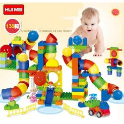 NOT LEGO Education 45016 Tubes Experiment Set, HuiMei Star City Xing Dou Cheng HM133 Xếp hình Ống Trượt Có Hộp Nhựa 142 khối