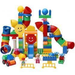 NOT Lego Duplo EDUCATION 45016 Tubes Experiment Set, HUIMEI STAR CITY XING DOU CHENG HM133 Xếp hình Ống Trượt Có Hộp Nhựa 142 khối