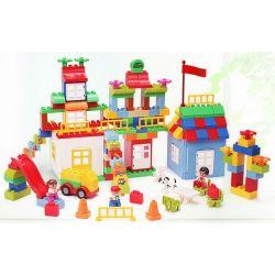 NOT LEGO Duplo 10622 Large Creative Box, HuiMei Star City Xing Dou Cheng HM180 Xếp hình Sáng Tạo Hộp Siêu Lớn 193 khối