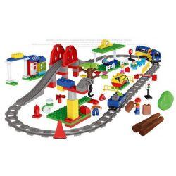 NOT Lego Duplo DUPLO 66524 Train Super Pack 3-in-1, HUIMEI STAR CITY XING DOU CHENG HM315 Xếp hình Tàu Hỏa động Cơ Pin Xanh Da Trời Chạy Và Ray Có Cầu Vượt 157 khối có động cơ pin