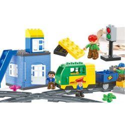 NOT LEGO Duplo 5609 Deluxe Train Set, HuiMei Star City Xing Dou Cheng HM317 Xếp hình Tàu Hỏa động Cơ Pin Và Ray Số 8 116 khối có động cơ pin