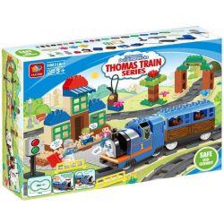 NOT LEGO Duplo 5554 Thomas Load and Carry Train Set, HuiMei Star City Xing Dou Cheng HM318 Xếp hình Tàu Hỏa động Cơ Pin Thomas Và Ray Bầu Dục 103 khối có động cơ pin