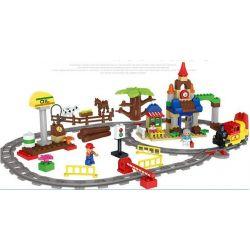 NOT Lego Duplo DUPLO 66494 Train 3-in-1 Pack, HUIMEI STAR CITY XING DOU CHENG HM313 Xếp hình Tàu Hỏa Cổ động Cơ Pin Và Ray 2 Vòng Tròn Lồng Nhau 139 khối có động cơ pin